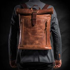 Leather backpack Roll top backpack by Kruk Garage Brown