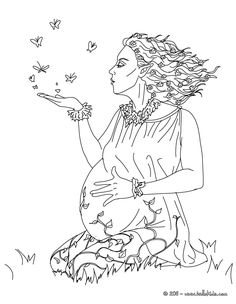 Coloring Pages for Adults Only | ... coloring pages - GAIA the Greek goddess of Earth coloring page