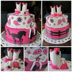 Pink and white western cowgirl cake with boots and a rope bow. #bandana #horse #baby shower cake