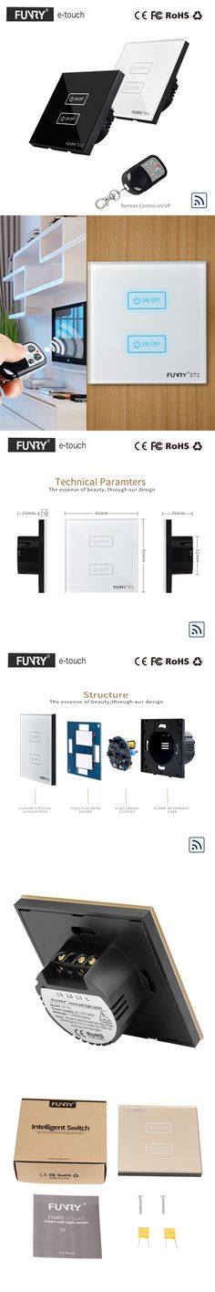 FUNRY EU/UK Type RF433 Wireless Remote Control Led Light Switches, 2 Gang 1 Way Wall Touch Waterproof Switch, 1 Year Warranty