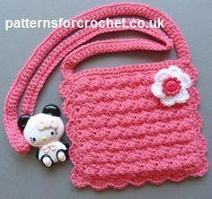 25 Ideas Crochet Bag Children Little Girls Purse Patterns Crochet Girls, Crochet For Kids, Easy Crochet, Crochet Baby, Free Crochet, Knit Crochet, Purse Patterns Free, Crochet Purse Patterns, Free Pattern