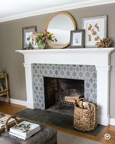 Fireplace decorated for spring with round IKEA mirror, inexpensive art printables, and spring tulips Idea for tiling in living room Fireplace Tile Surround, Fireplace Remodel, Fireplace Mantle, Living Room With Fireplace, Fireplace Surrounds, Fireplace Design, My Living Room, Home And Living, Fireplace Tiles