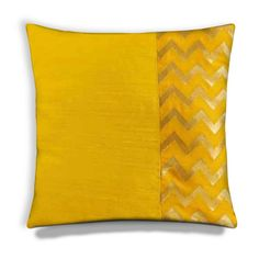 Raw silk pillow cover in yellow and gold chevron. This color block pillow cover is handmade in DesiCrafts workshop. Diy Pillow Covers, Diy Pillows, Handmade Pillows, Cushion Covers, Decorative Pillows, Wash Pillows, Throw Cushions, Felt Pillow, Quilted Pillow