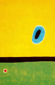 Joan Miro >> The Lark´s Wing, Encircled With Gold Blue  |  (oleo, obra de arte, reproducción, copia, pintura).