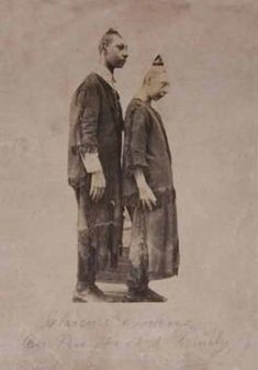 """Pinheads """"Clarence & Helen"""" real photo postcard from 1880s."""