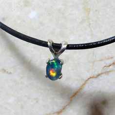 OPAL Jewelry Drop Pendant Sterling Silver Necklace by KJOFineArt, $29.95