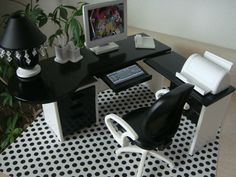 Doll House Office Furniture Desk Lamp Chair Accessories Monster High OOAK | eBay