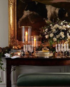 Ralph Lauren Home - A luxe expression for the holiday table. Featured: Classic Hurricanes, Wessex Dinnerware, and Broughton crystal Interior Exterior, Home Interior, English Country Decor, Christmas Entertaining, Christmas Decorations, Table Decorations, Classic Interior, Holiday Tables, Christmas And New Year