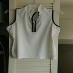 Maggie Lane white golf shirt White, sleeveless, navy trim, great fit, lightweight Maggie Lane Tops