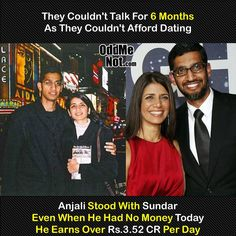 GOOGLE CEO SUNDAR PICHAI AND HIS WIFE ANJALI PICHAI'S CUTE LOVE-STORY PROVE THAT TRUE LOVE EXIST! True Interesting Facts, Interesting Facts About World, Intresting Facts, General Knowledge Facts, Knowledge Quotes, Wow Facts, Wtf Fun Facts, Motivational Picture Quotes, Best Inspirational Quotes