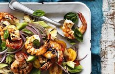 Sticky prawn salad