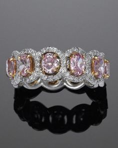 Pink Diamond Entwined Ovals Eternity Band by Fred Leighton
