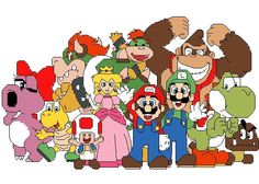 Mario and Friends Cross Stitch Pattern - Characters