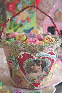 Rooted In Thyme: ~Sweet Treats~ valentine basket made from peat pots