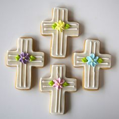 Cross Shaped Cookies for Easter Cross Cookies, Fancy Cookies, Iced Cookies, Royal Icing Cookies, Holiday Cookies, Cupcake Cookies, Sugar Cookies, Easter Cupcakes, Easter Cookies