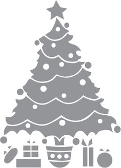 Glass etching stencil of Christmas Tree with Presents. In category: Centers, Christmas, Trees