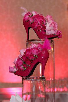 High heel floral centerpieces for Party Centerpieces, Floral Centerpieces, Floral Arrangements, Wedding Decorations, Shoe Decorations, Deco Floral, Arte Floral, Floral Design, Decor Eventos