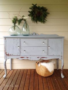 Painted by Amanda of Ferpie and Fray with Old Fashioned Milk Paint Co. Grey Painted Furniture, Distressed Furniture, Unique Furniture, Diy Furniture Tutorials, Furniture Projects, Furniture Makeover, Painted Slate, Painted Sideboard, Milk Paint