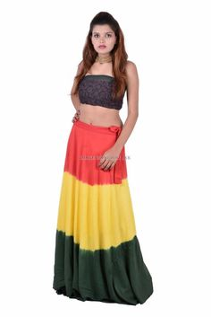 Indian Regular Size Full Skirts for Women Summer Wraps, Wrap Around Skirt, Full Skirts, Calves, Two Piece Skirt Set, Indian, Tie, Cotton, Rainbow