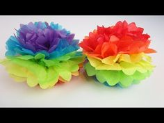 Learn Colours & How To Make a Rainbow Paper Pom Pom! Learn Colours & How To Make a Rainbow Paper Pom Pom! Like a tissue paper flower ball! How To DIY Paper Pom Tutorial Tissue Paper Pom Poms Diy, Tissue Paper Flowers, Diy Flowers, Paper Poms, 3d Paper, Paper Flower Ball, Paper Flower Garlands, Rainbow Paper, Rainbow Crafts