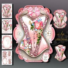 Rose Body Lace Accessories for Ladies on Craftsuprint designed by Atlic Snezana - Rose Body Lace Accessories for Ladies: 4 sheets for print with decoupage for 3D effect plus few sentiment tags (for your own personal text) - Now available for download!