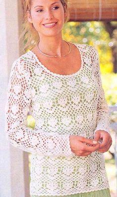 White Long Sleeve Top free crochet graph pattern