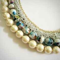 crochet fabric pearl necklace