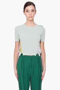 CARVEN Cropped Mint Map Sweater