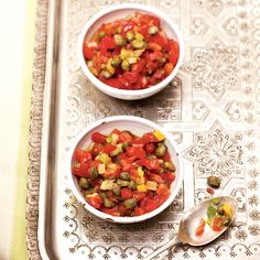 When guests sit down to the dinner table, Moroccan hosts often set out small salads to eat with bread or on their own. Paula Wolfert found this salad ...