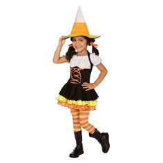 Toddler/Girl's Little Candy Corn Witch Costume