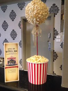 Popcorn topiary for vintage circus / carnival theme, formal