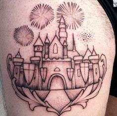 Dotwork Disney Castle Tattoo by Lawrence Edwards