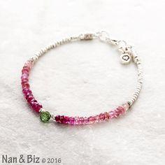 Pink tourmaline bracelet watermelon tourmaline by NanandBiz