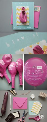 Party Invitation: DIY Ballon Invitations - I don't have any parties coming up, but what a great idea!