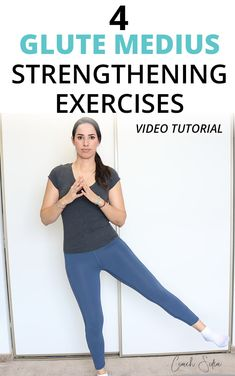4 Weak Gluteus Medius Activation Exercises Here are 4 banded glute medius strengthening exercises to strengthen and stabilize your hips, give you relief from piriformis syndrome, hip pain and lower back pain. Hip Strengthening Exercises, Hip Flexor Exercises, Yoga Exercises, Hip Workout, Workout Videos, Band Workouts, Glute Medius, Low Impact Workout, Back Pain