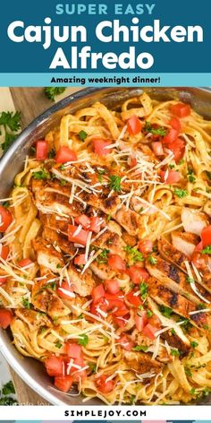 This Cajun Chicken Alfredo is an easy weeknight meal with the most perfect homemade Alfredo Sauce. Your family will love this delicious dinner. Yummy Pasta Recipes, Cajun Recipes, Chicken Recipes, Dinner Recipes, Cooking Recipes, Chicken Ideas, Skillet Recipes, Cooking Ideas, Easy Recipes
