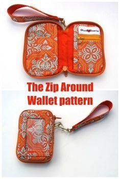 The Zip Around Wallet pattern - Sew Modern Bags Diy Id Wallet, Diy Wallet Pattern, Sew Wallet, Tote Pattern, Bag Patterns To Sew, Sewing Patterns, Tatting Patterns, Blanket Patterns, Crochet Patterns