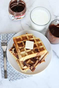Nutella Swirl Waffles