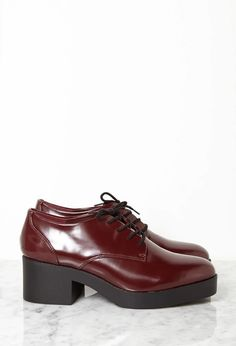 Patent Faux Leather Heeled Oxfords #stepitup