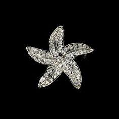 Silver Starfish Crystal Bridal Brooch Pin Hair Clip