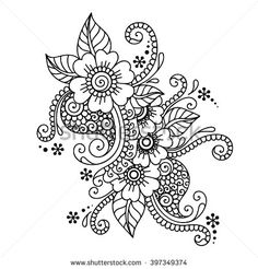 Find Doodle Vector Illustration Design Element Flower stock images in HD and millions of other royalty-free stock photos, illustrations and vectors in the Shutterstock collection. Thousands of new, high-quality pictures added every day. Henna Doodle, Henna Art, Doodle Art Drawing, Mandala Drawing, Floral Embroidery Patterns, Henna Patterns, Doodle Designs, Henna Designs, Symbol Tattoos