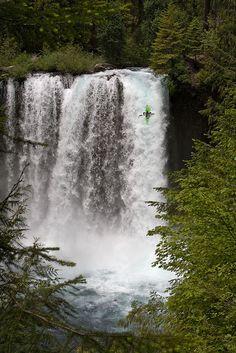 Koosah Falls, Oregon - notice the kayaker comming down the falls, wow! what a ride