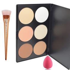 Lover Bar 6 Farbe Contour Palette+Make Up Pinsel+Beauty Blender Schwamm-Professionell Gesicht Gepressten Puder…