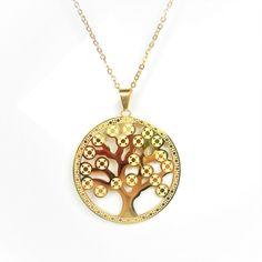 Collar co medallon colgante dorado de acero inoxidable moderno arbol de la vida mujer - BisuteriaDeModa.es