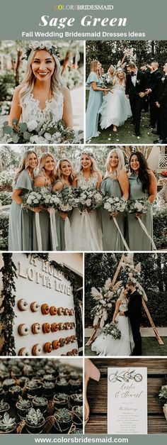 Sage green bridesmaid dresses for bohemian fall wedding good with white we. - Sage green bridesmaid dresses for bohemian fall wedding good with white wedding dress, greene - Green Fall Weddings, Sage Green Wedding, Fall Wedding Colors, Summer Wedding, Dream Wedding, Green Sage, Wedding White, Trendy Wedding, Wedding Orange