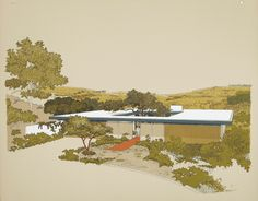 1961 Carlos Diniz rendering of  design by Ladd and Kelsey Architects