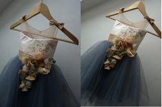 SOFIA Graphite Beige Gold Lace Tulle Flower by AtelierArtistia
