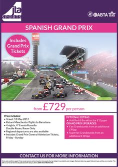 #F1 #SpanishGrandPrix this INC tickets WOW, from £625pp 4ngts 4* hotel and also flights, regional departures available add BB or upgrade