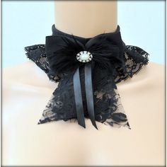 Black lace Choker. Gothic Lolita collar Victorian necklace. Gothic... ($20) ❤ liked on Polyvore featuring jewelry, necklaces, collar necklace, ribbon choker necklace, bow necklaces, lace choker necklace and victorian necklace