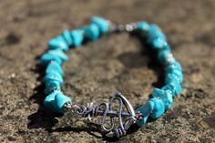 Turquoise and Silver Anchor Anklet by ClareyfairyCreations on Etsy, £8.00